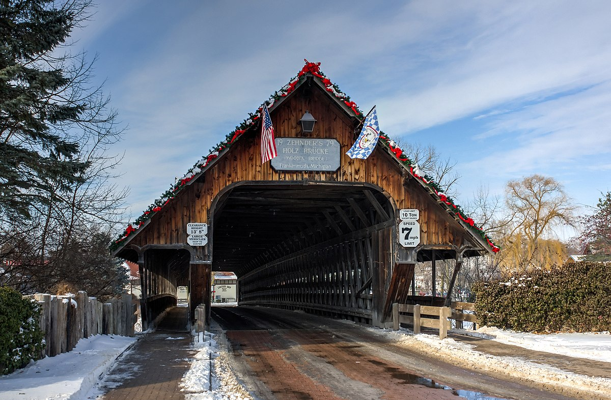 Covered Wooden Bridges 1200px-Covered_bridge_entrance%2C_Frankenmuth%2C_Michigan%2C_2015-01-11