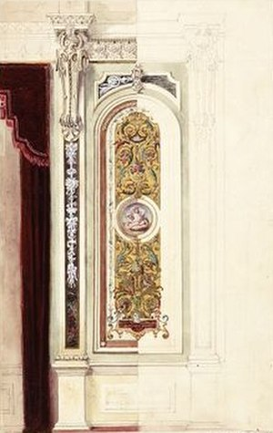 John Gregory Crace (designer) - Drawing of a Crace wall decoration, sketched by Frederick Smallfield
