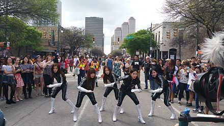 "Crayon Pop filming ""Can't Stop Crayon Pop"" for Funny or Die before K-Pop Night Out at SXSW Crayon Pop filming at SXSW Austin Texas 2015 --2.jpg"