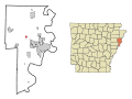 Crittenden County Arkansas Incorporated and Unincorporated areas Crawfordsville Highlighted.svg