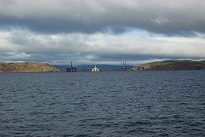 Cromarty Firth - Entrance to the Cromarty Firth, with oil rigs behind