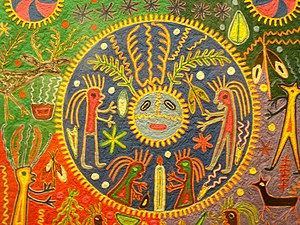 Cuadro de estambre del pueblo wixárika (huichol) IV.jpg