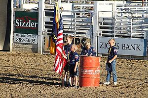 Scouting in Idaho - Cub Scouts at the Payette County Fair Kids Rodeo