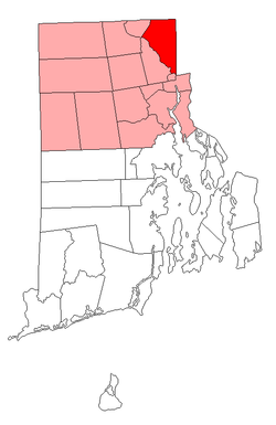 Location of Cumberland in Providence County, Rhode Island