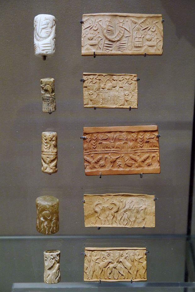 Sigilli cilindrici mesopotamici in calcare e relative impressioni (Parigi, Louvre).