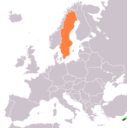Map indicating locations of Cyprus and Sweden