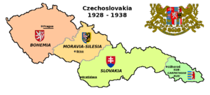 Czechoslovakism - Map of Czechoslovakia and its regions in 1928-1938