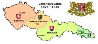 Czechoslovakism - Map of Czechoslovakia and its regions in 1928-1938