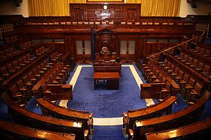 Oireachtas of the Irish Free State - The Dáil Chamber as it currently stands. Unusually, the government sits on the Speaker's left, unlike the norm in most Westminster system parliaments, where the government sits on the speaker's right.