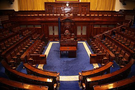 In 1922 a new parliament called the Oireachtas was established, of which Dail Eireann became the lower house. Dail Chamber.jpg