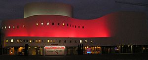 Düsseldorfer Schauspielhaus - The illuminated building at night, in 2007