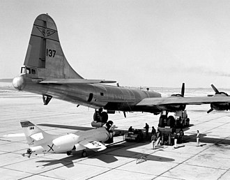 Douglas D-558-2 Skyrocket - B-29 (P2B variant) on jacks to accept the Skyrocket
