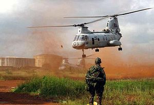 VMM-264 - (HMM-264) transports troops out of Monrovia, at Roberts International Airport, Liberia, during Joint Task Force (JTF) Liberia in 1996