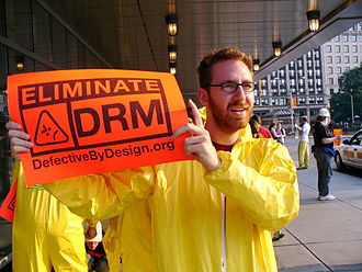Digital rights management - Defective by Design member protesting DRM on 25 May 2007.