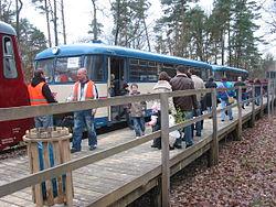 Deutsch: Treffen des Elbe-Elster-Express und des MAN-Schienenbusses 171 056 in Rochau Forst anläßlich der Rochauer WaldweihnachtEnglish: Elbe-Elster-Express and MAN-railbus 171 056 meets in Rochau Forst