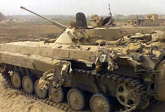 BMP-2 - A damaged abandoned Iraqi BMP-2K armoured command vehicle sits along a roadside in Northern Iraq, during – Operation Iraqi Freedom