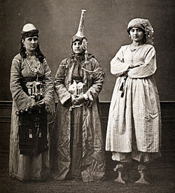 Three Damascene women; lady wearing qabqabs, a Druze, and a peasant, 1873.