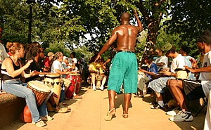 Meridian Hill Park - Drummers and a dancer in the park