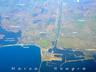 Danube–Black Sea Canal - Aerial view of the canal at its eastern end, in Constanța South Seaport