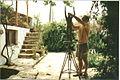 David Cregeen working in the garden of his Turkish studio. 2005.jpg