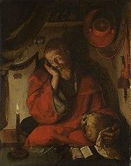 Saint Jérôme dans sa cellule près d'une chandelle