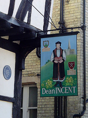 Church of St Peter, Great Berkhamsted - Dean Incent's House, depicting John Incent on the sign