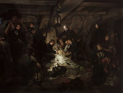 A painting of a dying Lord Nelson is surrounded by several people on board HMS Victory