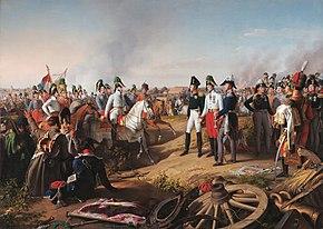 Karl von Schwarzenberg and the three allied monarchs after the Battle of Leipzig, 1813 (painting by Johann Peter Krafft) (Source: Wikimedia)