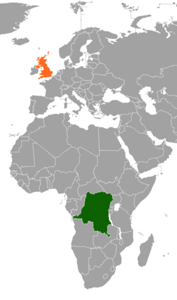 Map indicating locations of Democratic Republic of the Congo and United Kingdom
