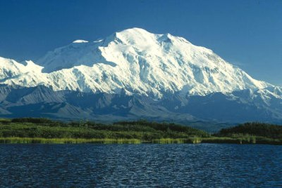 Mount McKinley (Denali) in Alaska is the highest peak of North America.