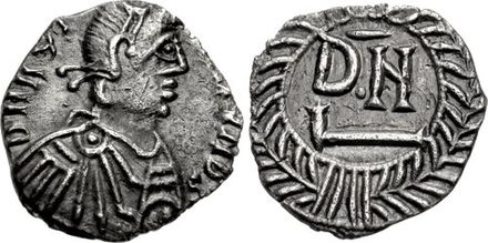 Thrasamund's effigy on a silver denarius coin