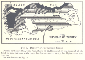 One-party period of the Republic of Turkey - Image: Density of Population Turkey 1927