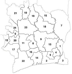 Departments of Ivory Coast - The 24 new departments that were created in 1969. These boundaries were consistent until departments began to be divided in 1974.