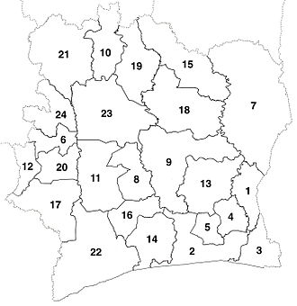 The 24 new departments that were created in 1969. These boundaries were consistent until departments began to be divided in 1974. Departments map Cote d'Ivoire numbered (1969-74).jpg