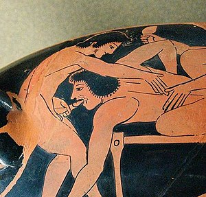 Fellatio - Depiction of fellatio on Attic red-figure kylix, c. 510 BC
