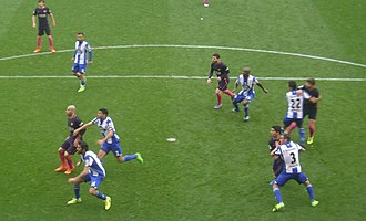 La Liga - Match between Deportivo de La Coruña and FC Barcelona in 2016-17 season.