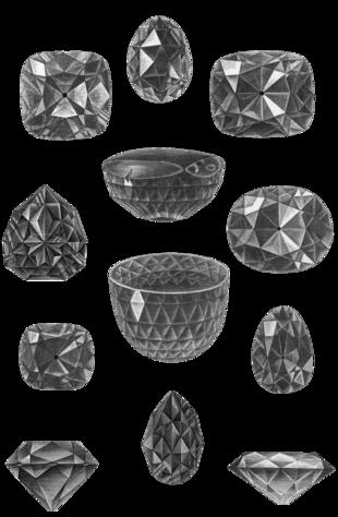 Alcuni tra i diamanti più famosi1. Gran Mogol 2. Reggente (visto  dall\u0027alto) 3. Fiorentino (visto di lato) 4. Stella del Sud (vista  dall\u0027alto) 5.