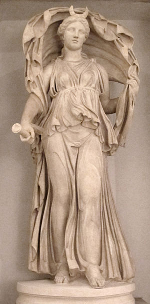 Selene - Statue of Selene, shown wearing the crescent on her forehead and holding a torch in her right hand, while her veil billows over her head