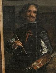 Detalle del autorretrato de Diego Velázquez en el cuadro Las Meninas con la Cruz de Santiago en el pecho