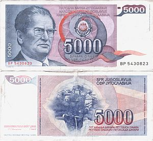 "Comparison of standard Bosnian, Croatian, Montenegrin and Serbian - Yugoslav currency dinar in 1985: The word ""one thousand"" in Croatian, Slovenian, Macedonian and Serbian language"