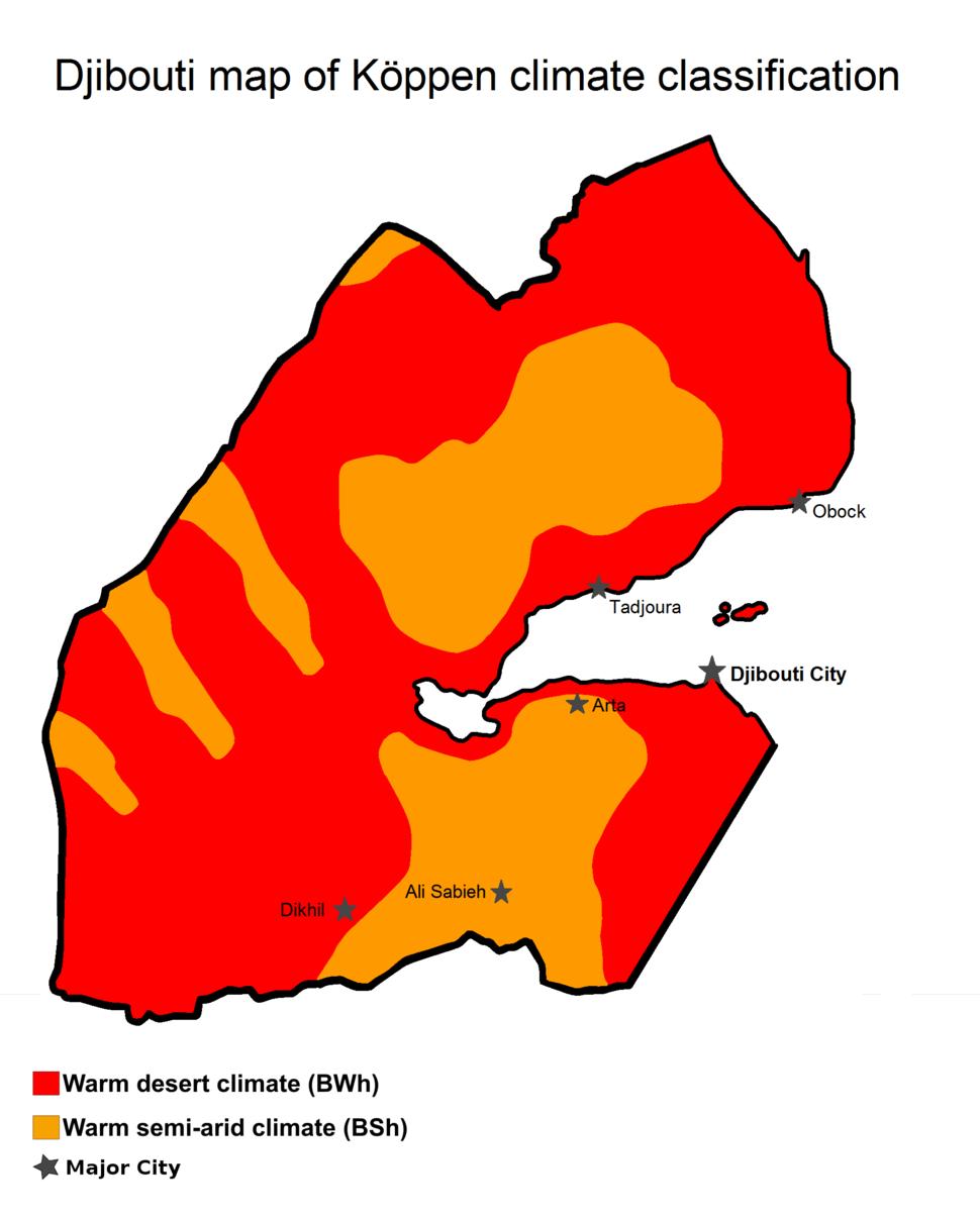 Djibouti's map of Köppen climate classification
