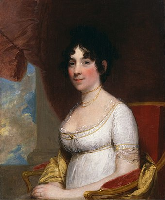 "Dolley Madison was said to be the first President's wife to be referred to as ""First Lady"" (this was at her funeral in 1849). Dolley Madison.jpg"