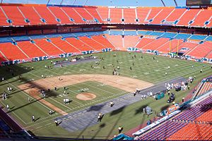 Marlins Park - The Marlins' former home at what was then Dolphin Stadium was primarily a football stadium, shown prepping for a Dolphins game with gridlines over the diamond in August 2007.
