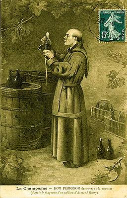 Dom Pérignon découvrant la prise de mousse