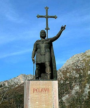 History of Portugal - Monument of Pelagius at Covadonga where he won the Battle of Covadonga and initiates the Christian Reconquista of Iberia from the Islamic Moors.