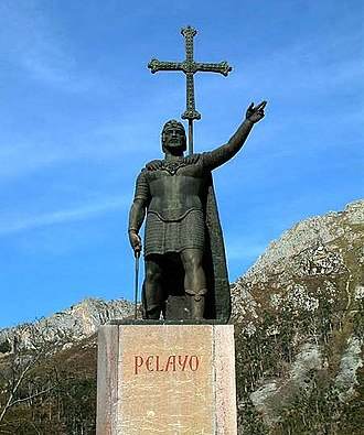 History of Portugal - Monument of Pelagius at Covadonga where he won the Battle of Covadonga and initiated the Christian Reconquista of Iberia from the Islamic Moors.