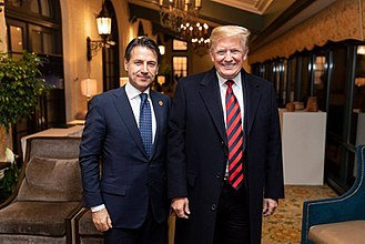 Italy–United States relations - Italian Prime Minister Giuseppe Conte (left) and U.S. President Donald Trump (right) meet in La Malbaie, Canada June 2018.