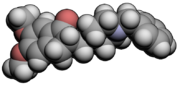 3d molecular spacefill of donepezil, an acetylcholinesterase inhibitor used in the treatment of AD symptoms.