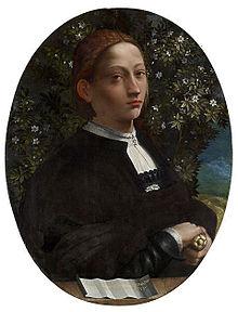 Ritratto di Lucrezia Borgia.[136] Dipinto attribuito a Dosso Dossi Battista Dossi (1518 ca.)