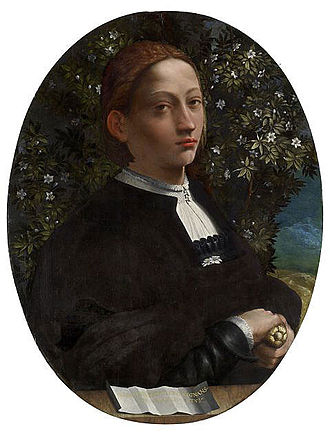 Dosso Dossi - Portrait of a Youth, the only confirmed portrait of Lucrezia Borgia by Dosso Dossi (1514-1516), at the National Gallery of Victoria.